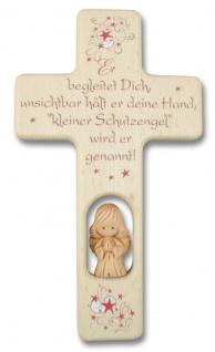 Kreuz für Kinder Schutzengel Gebet Baby Ton-Engel Kruzifix Holz Wandkreuz