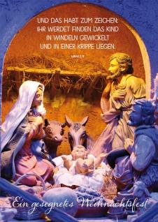 Postkarte Lukas Lutherbibel Ein gesegnetes Weihnachtsfest Krippe (10 Stück)