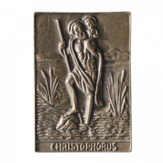 Namenstag Christophorus 8 x 6 cm Bronzerelief Wandbild Schutzpatron