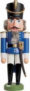 Nussknacker Husar blau 28 cm Holz-Figur Handarbeit aus Seiffen im Erzgebirge