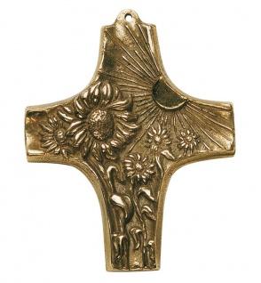 Wandkreuz Kreuz Sonne Blumen 10 cm Bronze Kinderkreuz Fonteyne