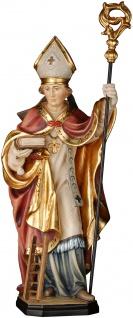Heiliger Emmeram mit Leiter Holzfigur geschnitzt Südtirol Schutzpatron Bischof