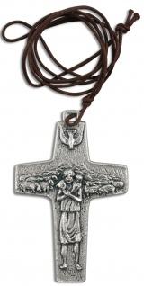 Kreuz Anhänger Guter Hirte Papst Franziskus Metall mit Kordel Kruzifix