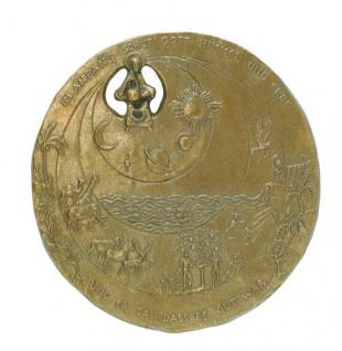 Wandplakette Bronze Relief Schöpfung Ø 19, 5 cm Handarbeit Hermann Schilcher