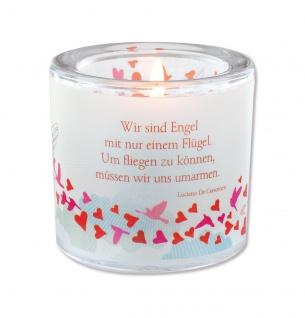 Glaswindlicht Engel Crescenzo Teelicht Kerzenhalter Geschenkbox Glas Windlicht