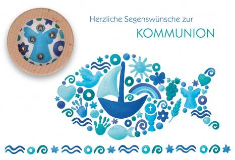 Glückwunschkarte mit Geduldspiel 5 Stck Fische Herzliche Segenswünsche Kommunion