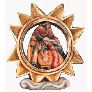 Stern mit Krippengruppe Holzfigur geschnitzt handbemalt Weihnachtsdeko Südtirol