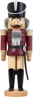 Nussknacker Husar Esche lasiert aubergine 37 cm Holz-Figur Handarbeit Erzgebirge