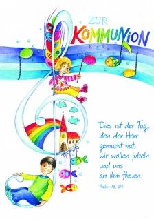 Kommunionkarte Psalm Zur Kommunion (6 Stck) Glückwunschkarte Erstkommunion