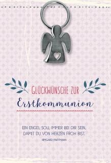 Glückwunschkarte Glückwünsche zur Erstkommunion Engel Schlüsselanhänger 5 Stück