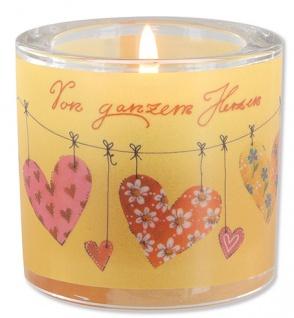 Glaswindlicht Herzen inkl Teelicht Kerzenhalter Geschenkbox Glas für Windlicht