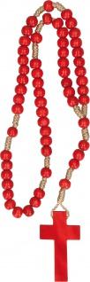 Kinder Rosenkranz mit roten Holzperlen und Holzkreuz geknüpft 29 cm