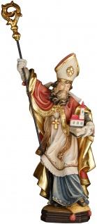 Heiliger Felix mit Kirche Holzfigur geschnitzt Südtirol Bischof von Como
