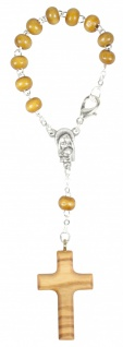 Zehner-Rosenkranz hellbraun Perle Kreuz 12, 5 cm Auto-Rosenkranz Rückspiegel