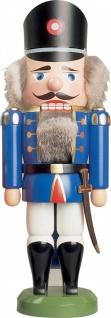 Nussknacker Polizist blau 35 cm Holz-Figur Handarbeit aus Seiffen im Erzgebirge