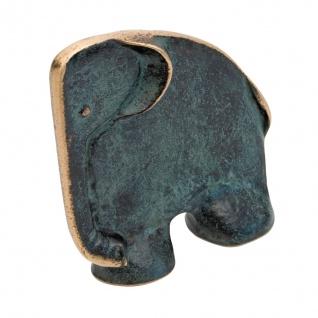Elefant 14 cm Buchstütze Bronze patiniert Tierfigur Bronze Statue Skulptur
