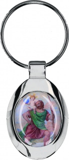 Schlüsselanhänger Christophorus mit farbigem Bild Metall 5 x 3, 2 cm