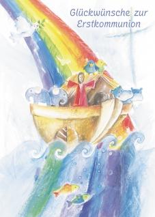 Kommunionkarte Arche Noah zur Erstkommunion (6 Stck) Glückwunschkarte Kommunion
