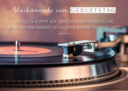 Postkarte Geburtstag Schallplattenspieler 10 St Adressfeld Musik Glück Herz