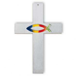 Wandkreuz Edelstahl Kreuz Fisch Regenbogen Glas 18 cm Kruzifix Christlich