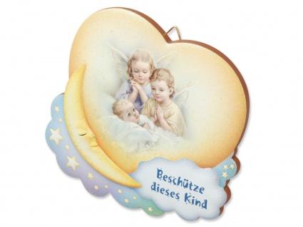 Schutzengelbild Baby mit 2 Engeln auf Mond 10 x 9 cm