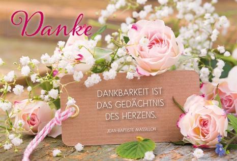 Grußkarte Danke Jean-Baptiste Massillon 6 Stück Kuvert Dankbarkeit Herz