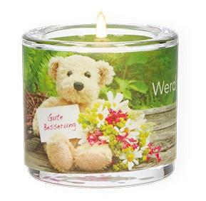 Glaswindlicht Gute Besserung Teelicht Kerzenhalter Geschenkbox Glas für Windlicht