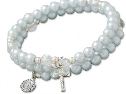 Rosenkranz Armband Wachsperlen hellblau, verstellbar Religiöser Schmuck