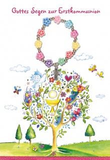Glückwunschkarte Gottes Segen zur Erstkommunion (5 St) mit Armband Franz Hübner