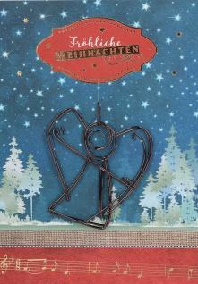 Weihnachtskarte Fröhliche Weihnachten mit Engel-Anhänger aus Draht (5 Stck)