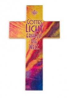 Kinderkreuz Gottes Licht erhellt die Welt Buche bemalt 15 cm 20cm Wandkreuz Holz