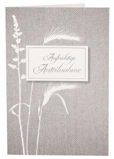 Trauerkarte Aufrichtige Anteilnahme (6 St) Grußkarte Kuvert Folienprägung