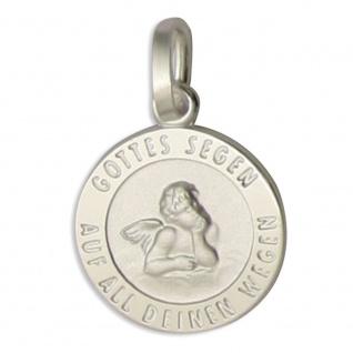 Schutzengel Schmuck Anhänger Gottes Segen auf all deinen Wege 925 Silber 1, 2 cm