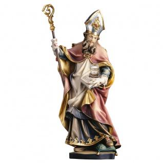 Heiliger Rupert von Salzburg mit Salzfass Holzfigur geschnitzt Heiligenfigur