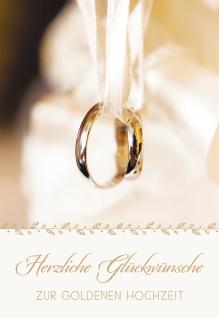 Glückwunschkarte Goldene Hochzeit Eheringe Klaus Hemmerle 6 St Kuvert Liebe