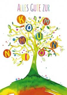 Postkarte Alles Gute zur Kommunion (10 St) Lebensbaum Grußkarte mit Adressfeld