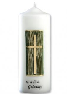 Trauerkerze In stillem Gedenken Kreuz grün gold 22 cm Tischkerze Handarbeit