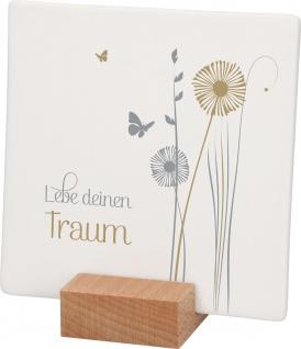Relief Lebe deinen Traum Porzellan Stand-Sockel Holz 10 cm Stand-Dekoration