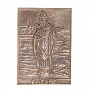 Namenstag Friedrich 8 x 6 cm Geschenk Bronzerelief Wandbild Schutzpatron - Vorschau