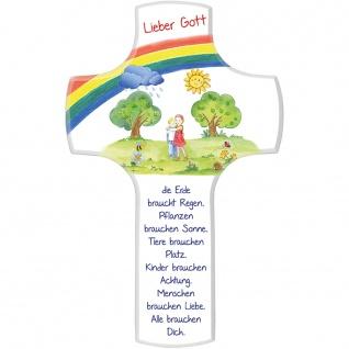 Kinderkreuz Holz Die Erde braucht Regen weiß 18cm Bildmotiv Wandkreuz Handarbeit