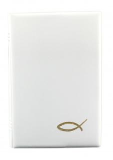 Gotteslob Buchhülle Fisch Weiß Goldprägung Gesangbuch Einband Katholisch