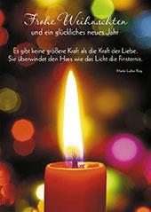 Postkarte Frohe Weihnachten (10 St) Rote brennende Kerze Grußkarte