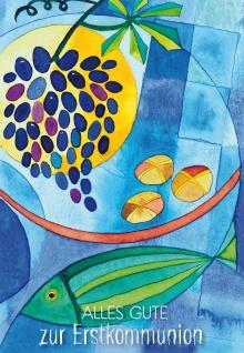 Geld-Geschenkkarte Alles Gute zur Erstkommunion mit farbigem Kuvert 6 Stück