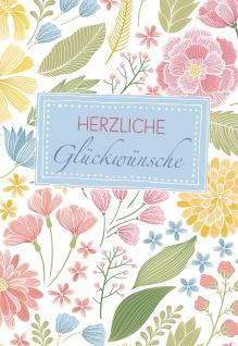 Glückwunschkarte Herzliche Glückwünsche (6 St) Blumen Tanja Sassor Grußkarte