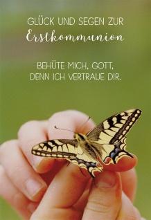 Glückwunschkarte Glück und Segen zur Erstkommunion Bibelwort Kuvert 6 Stk