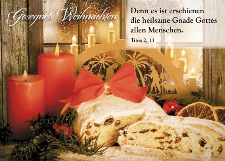 Postkarte Gesegnete Weihnachten (10 St) Rote Kerzen und Stollen Grußkarte Kuvert