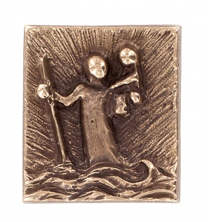 Christophorus Auto-Plakette Bronze mit Klebepad Magnet Christophorus Plakette