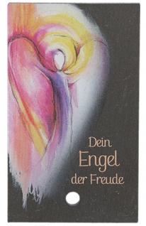 Engel Bild Dein Engel der Freude Holzstab zum Aufstellen 10 cm Schiefer