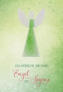 Klappkarte Ich wünsche dir einen Engel des Segens (5 St) mit Glasanhänger