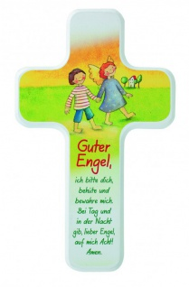Kinderkreuz Guter Engel Buche Gute Nacht Gebet 18 cm Wandkreuz Holz Kreuz